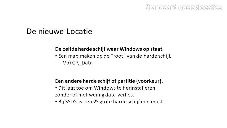 De nieuwe Locatie De zelfde harde schijf waar Windows op staat.