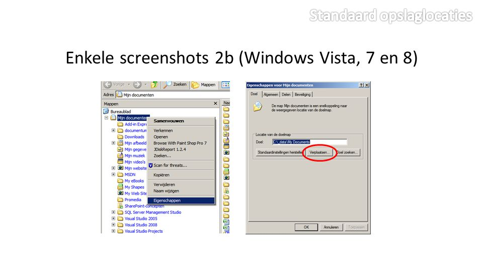Enkele screenshots 2b (Windows Vista, 7 en 8)