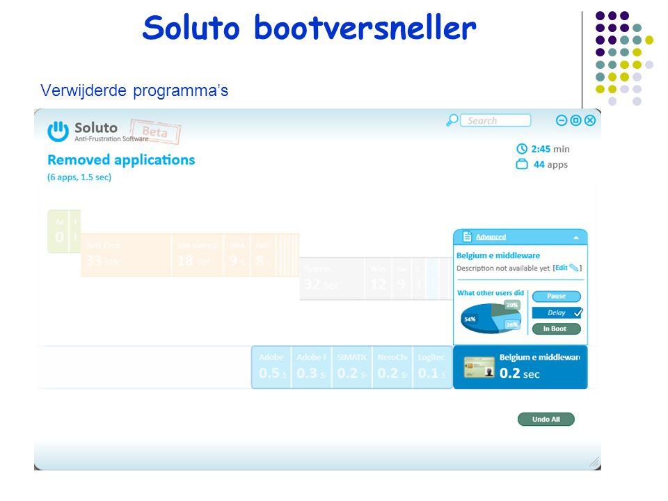 Soluto bootversneller Verwijderde programma's