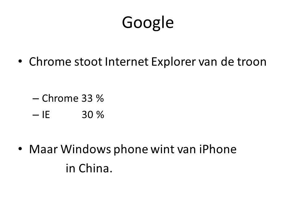 Google Chrome stoot Internet Explorer van de troon – Chrome 33 % – IE 30 % Maar Windows phone wint van iPhone in China.