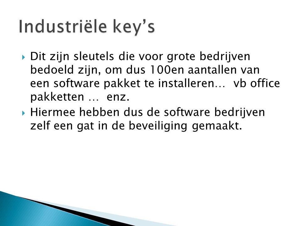  Dit soort key's is op vrij grote schaal op de zwarte markt terecht gekomen, meestal onder de vorm van een unattended installatie waar de key via een script in is voorgebakken.
