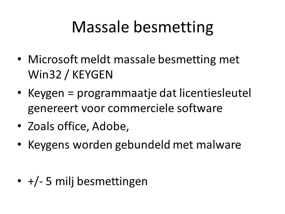 Massale besmetting Microsoft meldt massale besmetting met Win32 / KEYGEN Keygen = programmaatje dat licentiesleutel genereert voor commerciele software Zoals office, Adobe, Keygens worden gebundeld met malware +/- 5 milj besmettingen