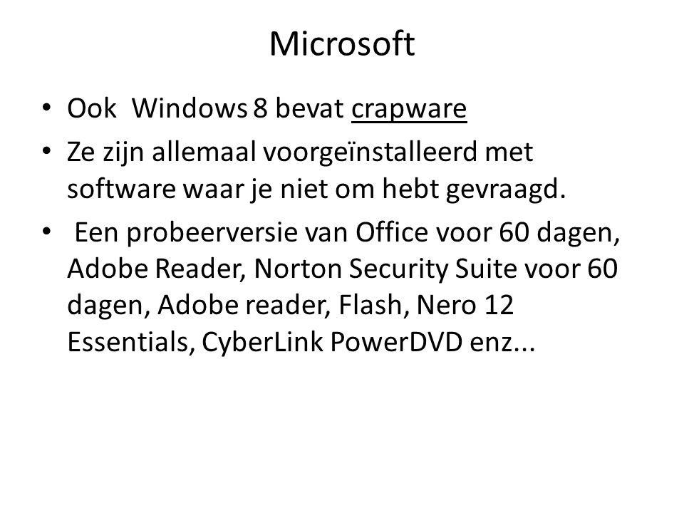 Microsoft Ook Windows 8 bevat crapware Ze zijn allemaal voorgeïnstalleerd met software waar je niet om hebt gevraagd.
