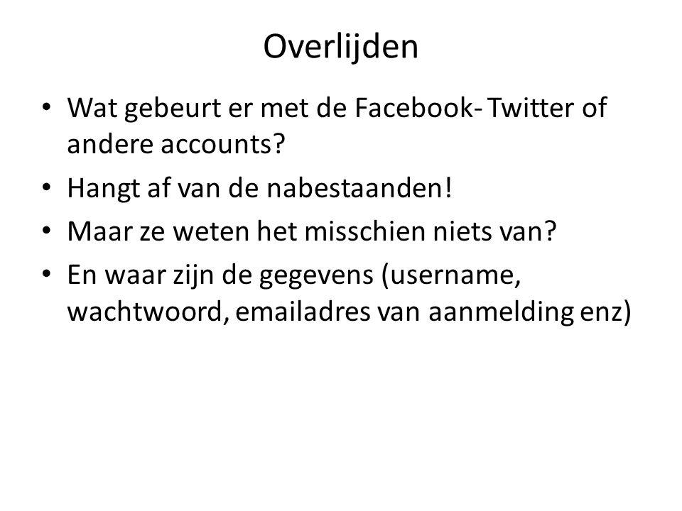 Overlijden Wat gebeurt er met de Facebook- Twitter of andere accounts.