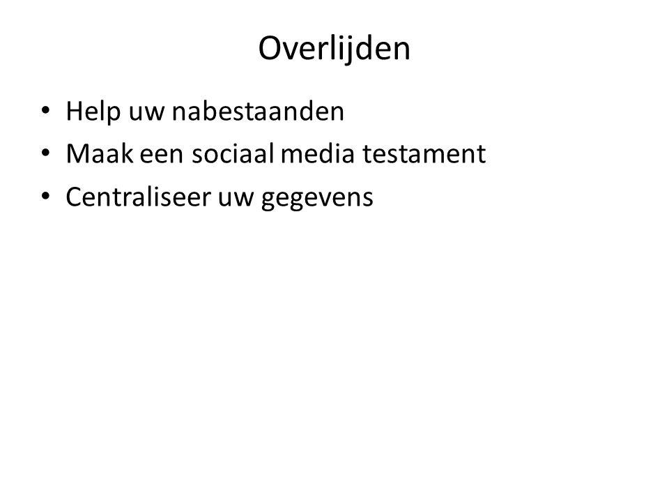 Overlijden Help uw nabestaanden Maak een sociaal media testament Centraliseer uw gegevens