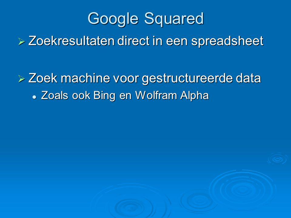 Google Squared  Zoekresultaten direct in een spreadsheet  Zoek machine voor gestructureerde data Zoals ook Bing en Wolfram Alpha Zoals ook Bing en Wolfram Alpha
