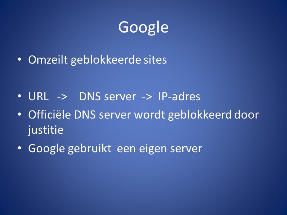 Google Omzeilt geblokkeerde sites URL -> DNS server -> IP-adres Officiële DNS server wordt geblokkeerd door justitie Google gebruikt een eigen server