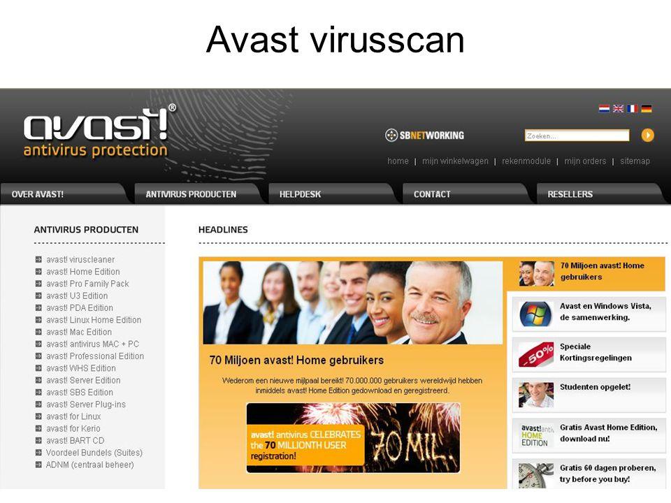 Kies Avast home editie Dan: avast.Home Edtition gratis registreren avast.