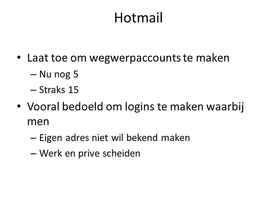 Hotmail Laat toe om wegwerpaccounts te maken – Nu nog 5 – Straks 15 Vooral bedoeld om logins te maken waarbij men – Eigen adres niet wil bekend maken – Werk en prive scheiden