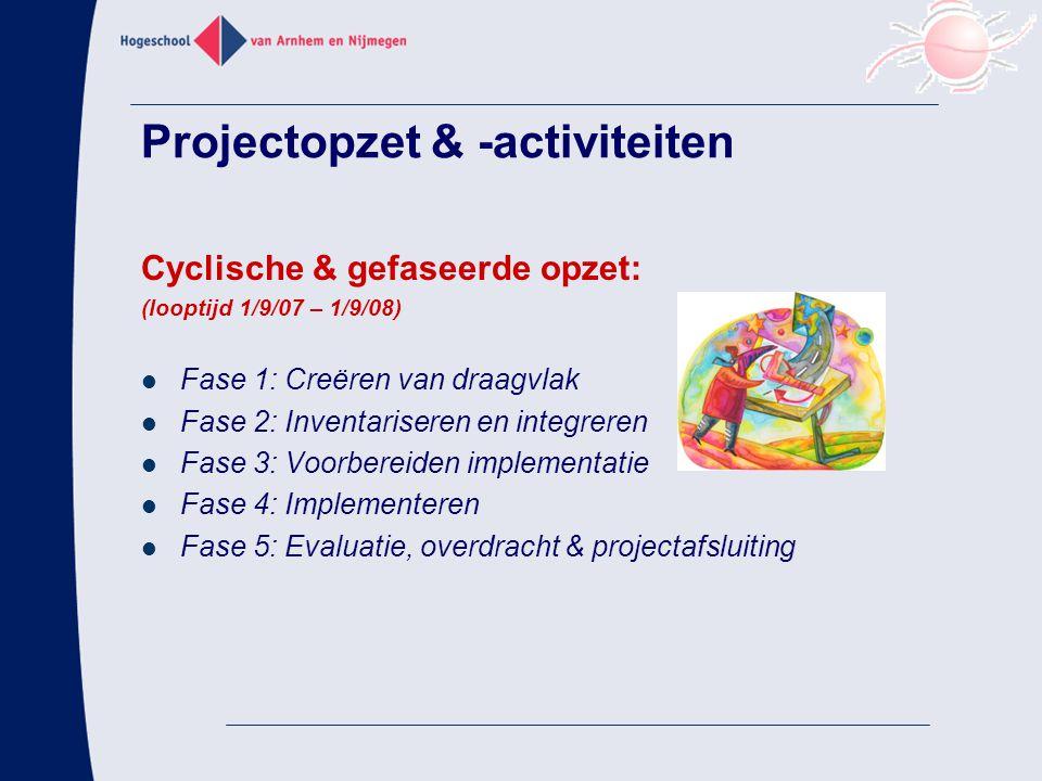 Projectopzet & -activiteiten Cyclische & gefaseerde opzet: (looptijd 1/9/07 – 1/9/08) Fase 1: Creëren van draagvlak Fase 2: Inventariseren en integreren Fase 3: Voorbereiden implementatie Fase 4: Implementeren Fase 5: Evaluatie, overdracht & projectafsluiting