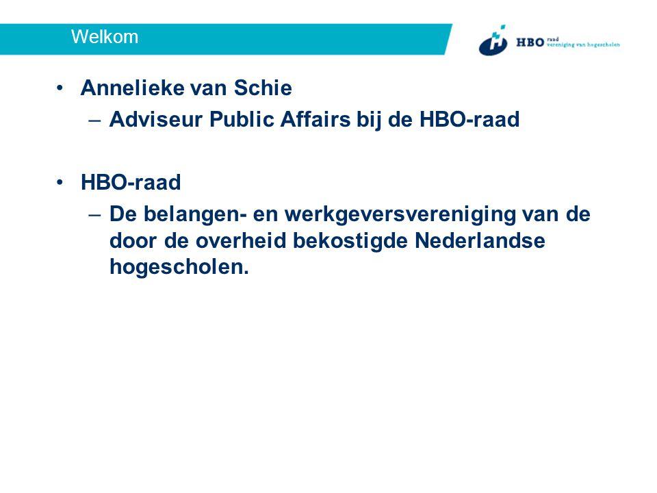 Welkom Annelieke van Schie –Adviseur Public Affairs bij de HBO-raad HBO-raad –De belangen- en werkgeversvereniging van de door de overheid bekostigde Nederlandse hogescholen.