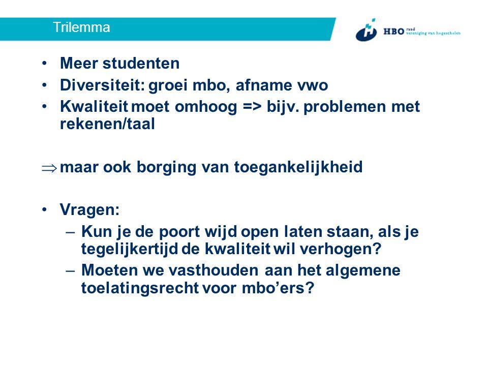 Trilemma Meer studenten Diversiteit: groei mbo, afname vwo Kwaliteit moet omhoog => bijv.