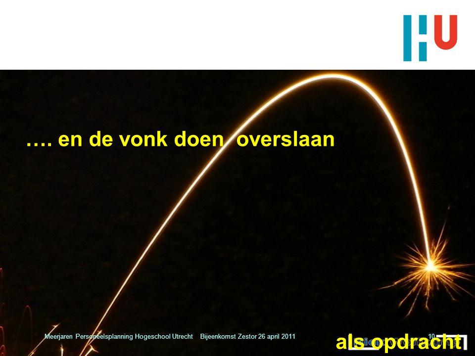 …. en de vonk doen overslaan als opdracht Meerjaren Personeelsplanning Hogeschool Utrecht Bijeenkomst Zestor 26 april 201110