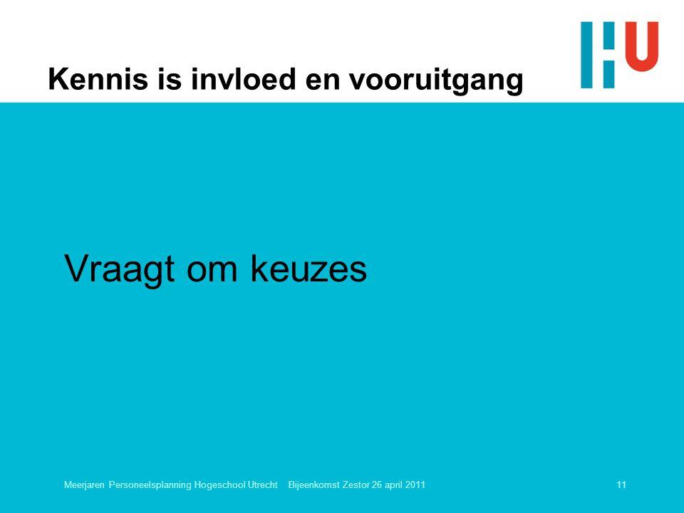 Kennis is invloed en vooruitgang Vraagt om keuzes Meerjaren Personeelsplanning Hogeschool Utrecht Bijeenkomst Zestor 26 april 201111