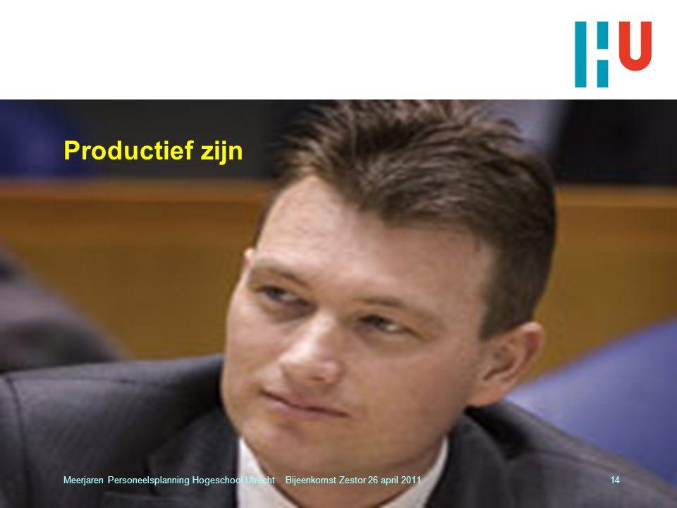 Productief zijn Meerjaren Personeelsplanning Hogeschool Utrecht Bijeenkomst Zestor 26 april 201114