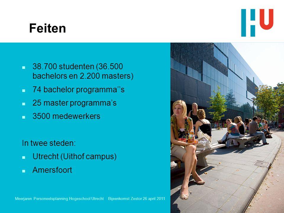 Meerjaren Personeelsplanning Hogeschool Utrecht Bijeenkomst Zestor 26 april 2011 3 n 38.700 studenten (36.500 bachelors en 2.200 masters) n 74 bachelor programma''s n 25 master programma's n 3500 medewerkers In twee steden: n Utrecht (Uithof campus) n Amersfoort Feiten