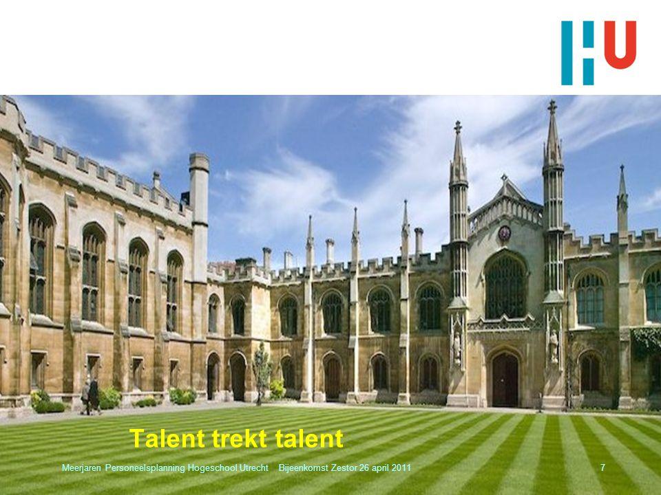 Talent trekt talent Meerjaren Personeelsplanning Hogeschool Utrecht Bijeenkomst Zestor 26 april 20117