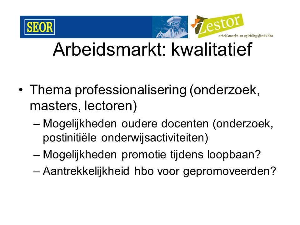 Arbeidsmarkt: kwalitatief Thema professionalisering (onderzoek, masters, lectoren) –Mogelijkheden oudere docenten (onderzoek, postinitiële onderwijsactiviteiten) –Mogelijkheden promotie tijdens loopbaan.