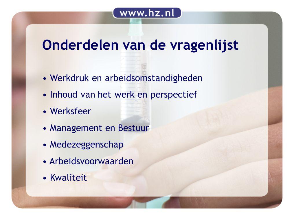 Onderdelen van de vragenlijst Werkdruk en arbeidsomstandigheden Inhoud van het werk en perspectief Werksfeer Management en Bestuur Medezeggenschap Arb