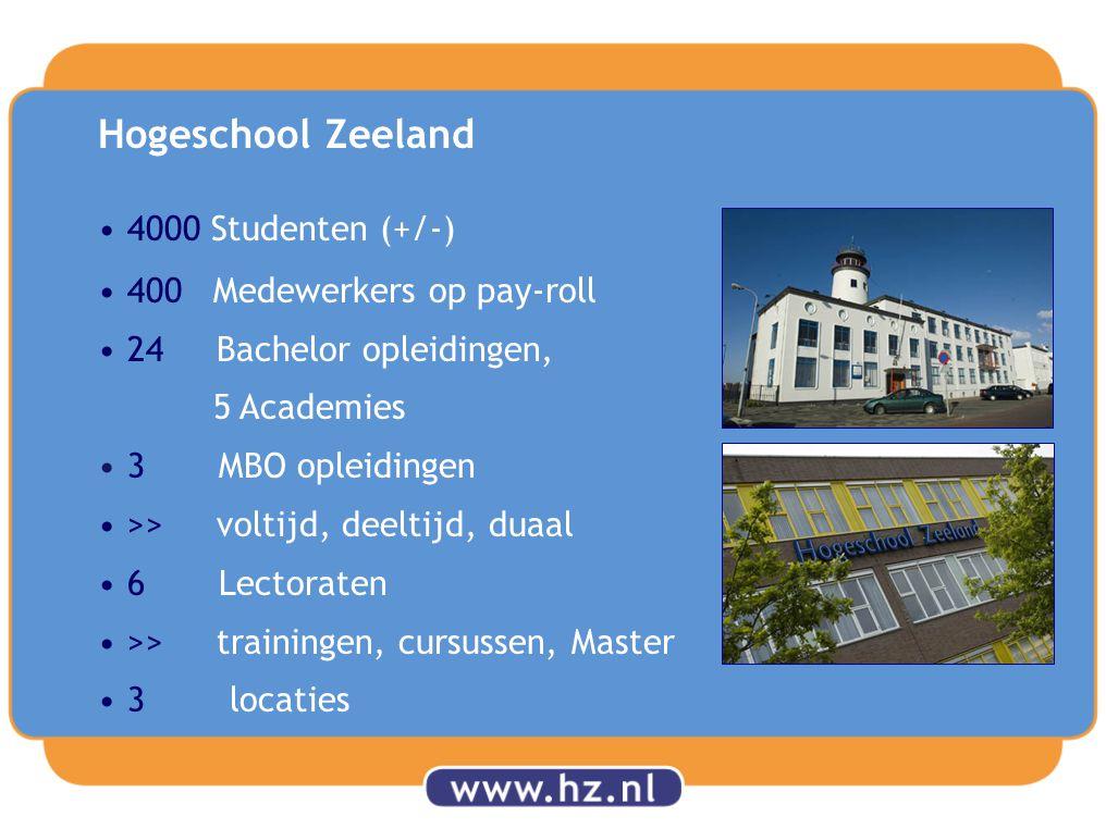 4000 Studenten (+/-) 400 Medewerkers op pay-roll 24 Bachelor opleidingen, 5 Academies 3 MBO opleidingen >> voltijd, deeltijd, duaal 6 Lectoraten >> trainingen, cursussen, Master 3 locaties Hogeschool Zeeland