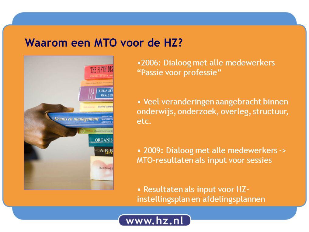 """Waarom een MTO voor de HZ? 2006: Dialoog met alle medewerkers """"Passie voor professie"""" Veel veranderingen aangebracht binnen onderwijs, onderzoek, over"""