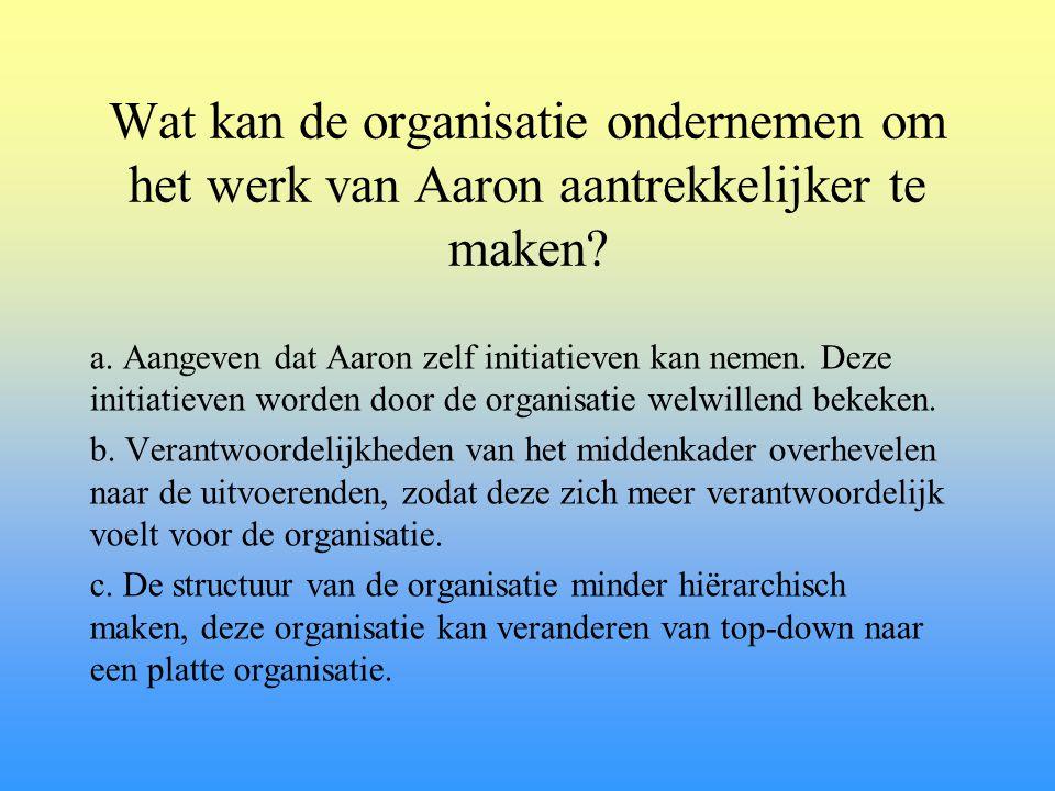 Wat kan de organisatie ondernemen om het werk van Aaron aantrekkelijker te maken? a. Aangeven dat Aaron zelf initiatieven kan nemen. Deze initiatieven