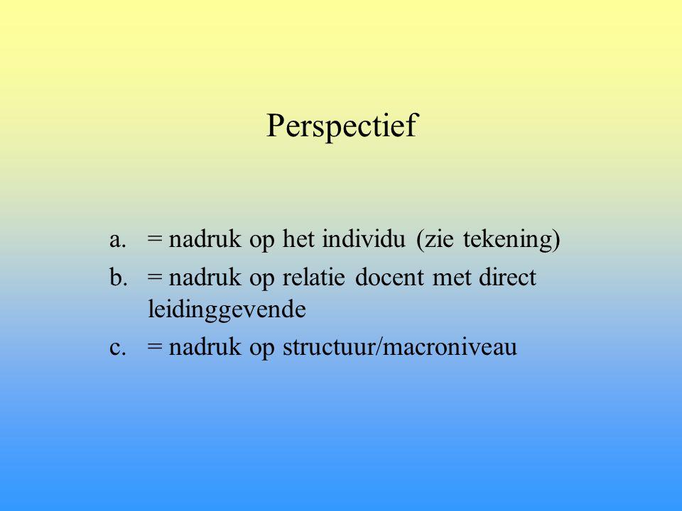 Perspectief a.= nadruk op het individu (zie tekening) b.= nadruk op relatie docent met direct leidinggevende c.= nadruk op structuur/macroniveau