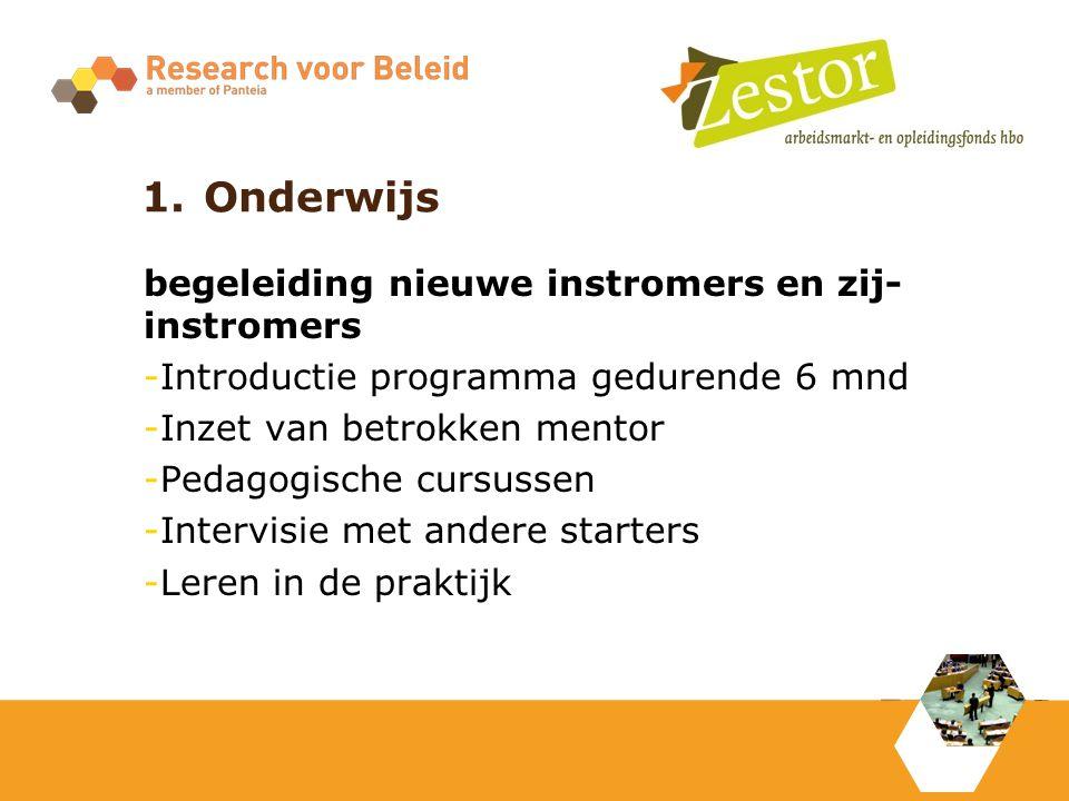 1.Onderwijs begeleiding nieuwe instromers en zij- instromers -Introductie programma gedurende 6 mnd -Inzet van betrokken mentor -Pedagogische cursussen -Intervisie met andere starters -Leren in de praktijk