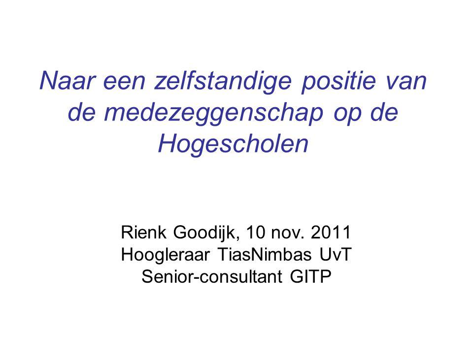 Naar een zelfstandige positie van de medezeggenschap op de Hogescholen Rienk Goodijk, 10 nov. 2011 Hoogleraar TiasNimbas UvT Senior-consultant GITP