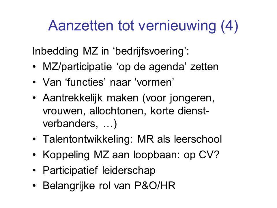 Aanzetten tot vernieuwing (4) Inbedding MZ in 'bedrijfsvoering': MZ/participatie 'op de agenda' zetten Van 'functies' naar 'vormen' Aantrekkelijk maken (voor jongeren, vrouwen, allochtonen, korte dienst- verbanders, …) Talentontwikkeling: MR als leerschool Koppeling MZ aan loopbaan: op CV.