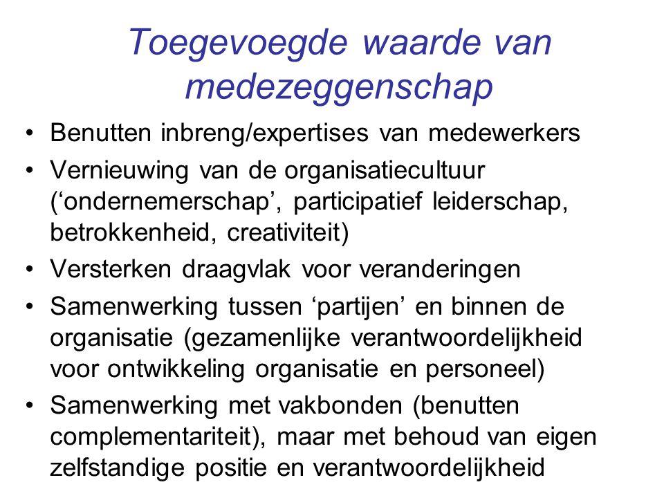 Toegevoegde waarde van medezeggenschap Benutten inbreng/expertises van medewerkers Vernieuwing van de organisatiecultuur ('ondernemerschap', participa
