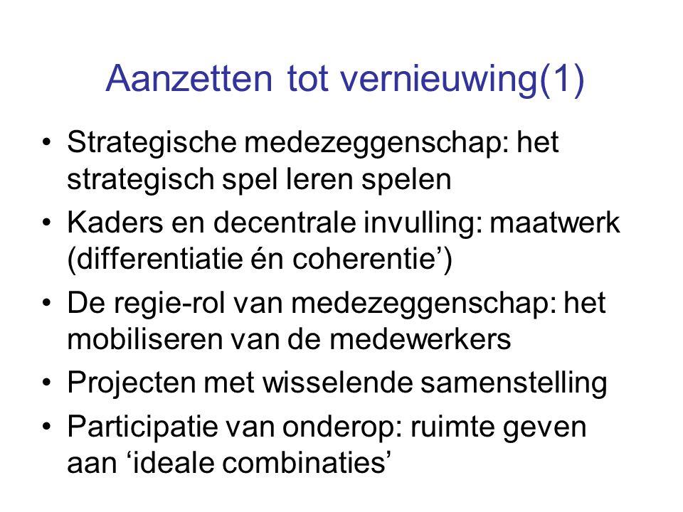 Aanzetten tot vernieuwing(1) Strategische medezeggenschap: het strategisch spel leren spelen Kaders en decentrale invulling: maatwerk (differentiatie
