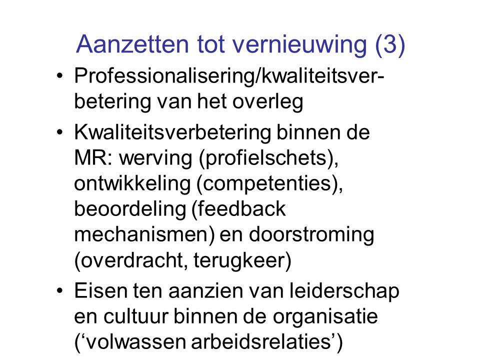 Aanzetten tot vernieuwing (3) Professionalisering/kwaliteitsver- betering van het overleg Kwaliteitsverbetering binnen de MR: werving (profielschets),