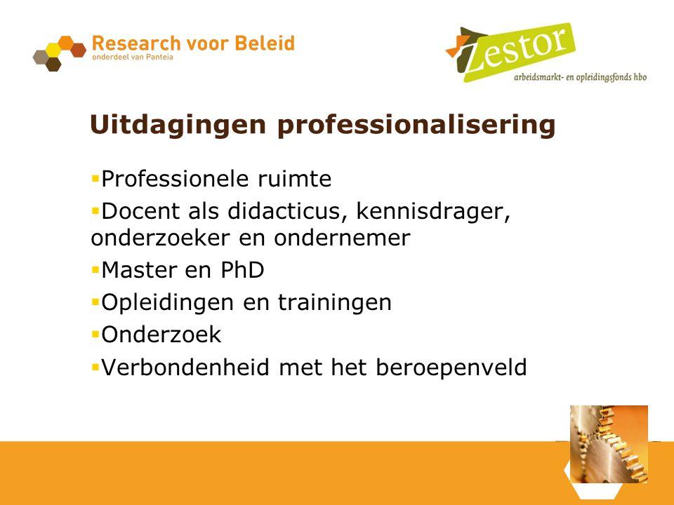 Uitdagingen professionalisering  Professionele ruimte  Docent als didacticus, kennisdrager, onderzoeker en ondernemer  Master en PhD  Opleidingen en trainingen  Onderzoek  Verbondenheid met het beroepenveld