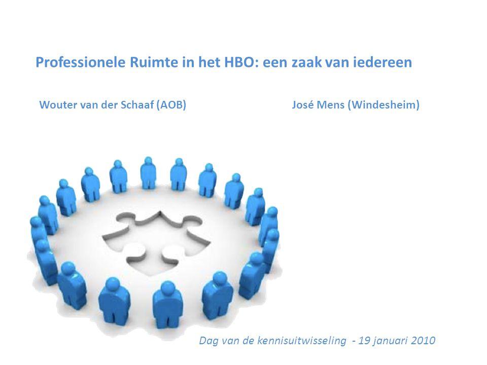 Professionele Ruimte in het HBO: een zaak van iedereen Wouter van der Schaaf (AOB) José Mens (Windesheim) Dag van de kennisuitwisseling - 19 januari 2010