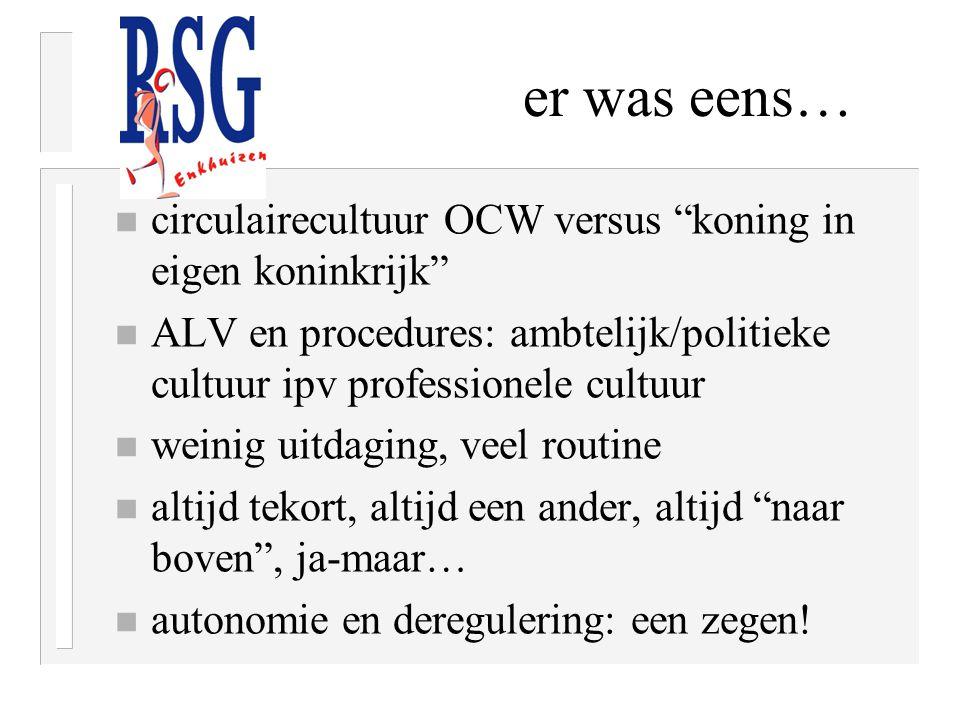 """er was eens… n circulairecultuur OCW versus """"koning in eigen koninkrijk"""" n ALV en procedures: ambtelijk/politieke cultuur ipv professionele cultuur n"""