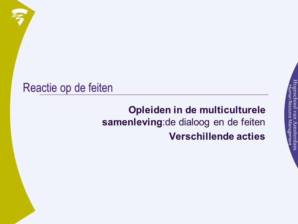 Reactie op de feiten Opleiden in de multiculturele samenleving:de dialoog en de feiten Verschillende acties