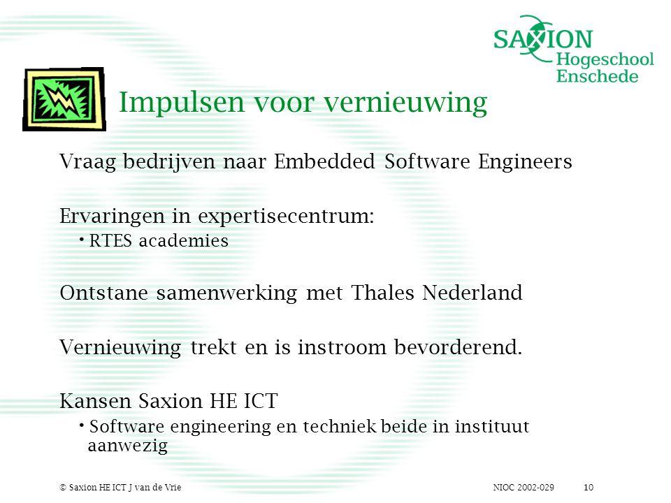 NIOC 2002-029© Saxion HE ICT J van de Vrie10 Impulsen voor vernieuwing Vraag bedrijven naar Embedded Software Engineers Ervaringen in expertisecentrum: RTES academies Ontstane samenwerking met Thales Nederland Vernieuwing trekt en is instroom bevorderend.
