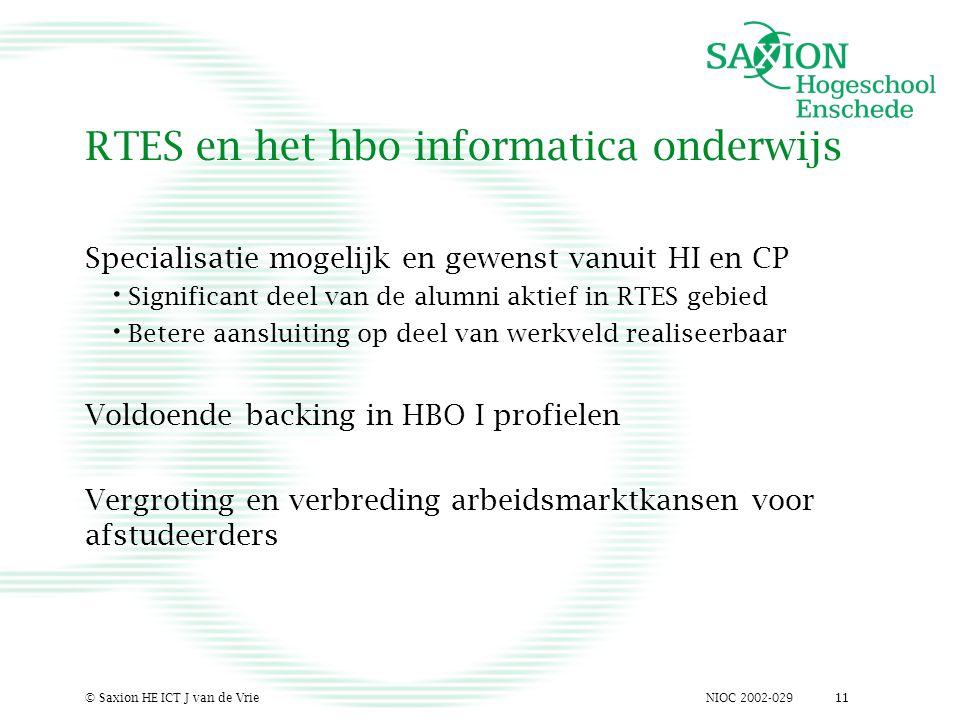 NIOC 2002-029© Saxion HE ICT J van de Vrie11 RTES en het hbo informatica onderwijs Specialisatie mogelijk en gewenst vanuit HI en CP Significant deel