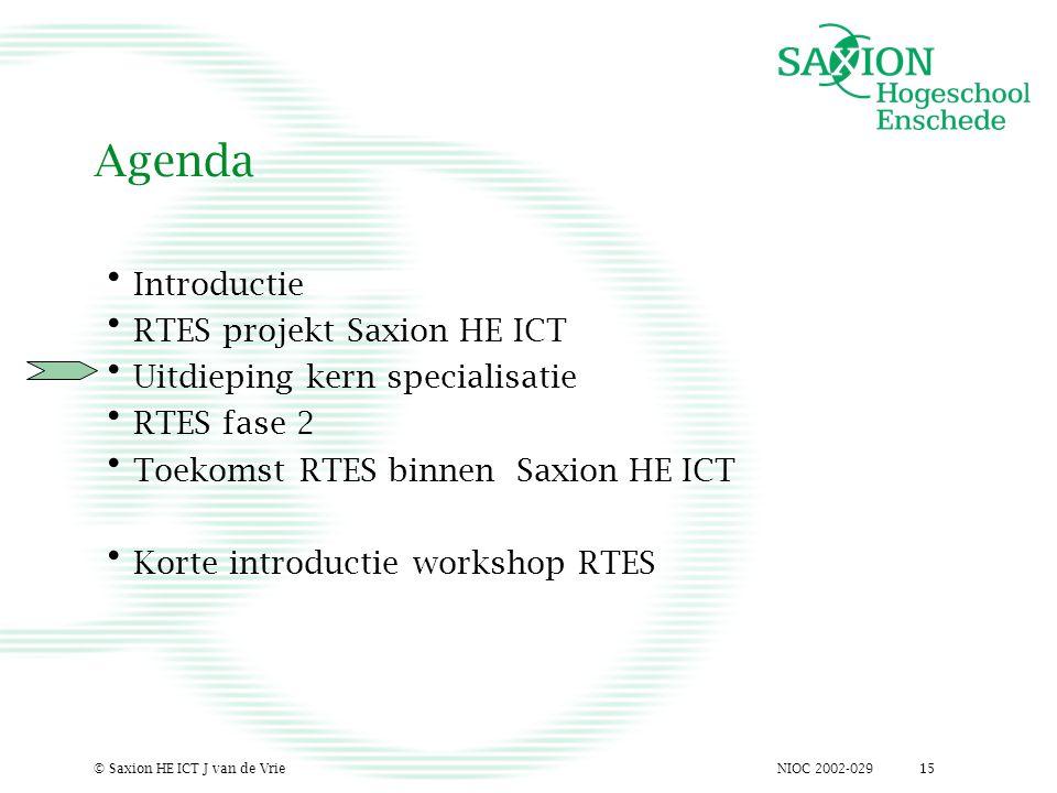NIOC 2002-029© Saxion HE ICT J van de Vrie15 Agenda Introductie RTES projekt Saxion HE ICT Uitdieping kern specialisatie RTES fase 2 Toekomst RTES bin