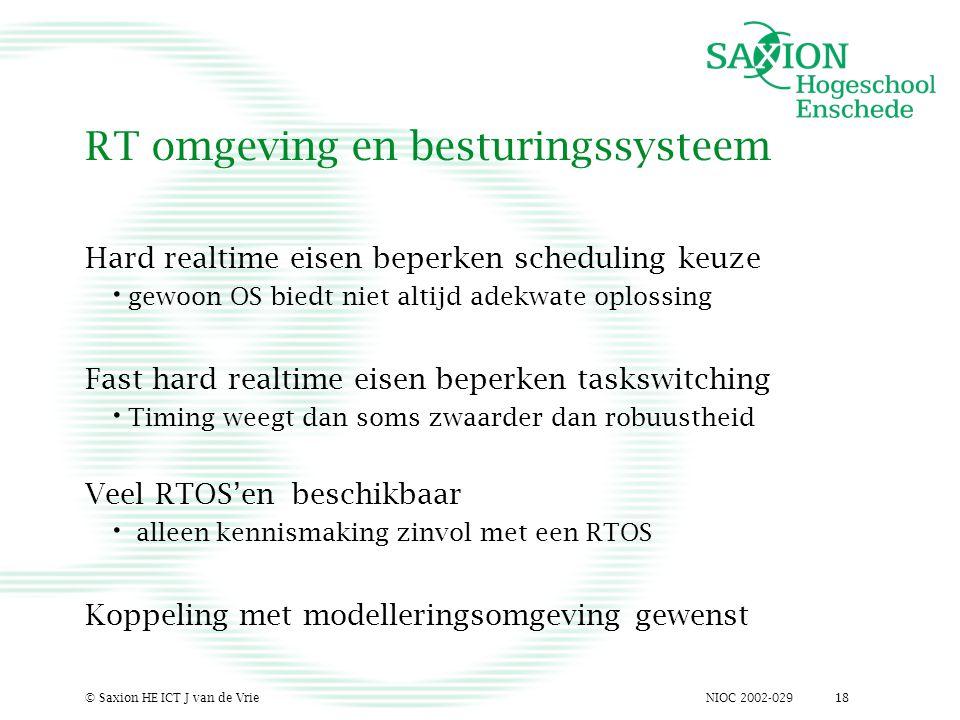 NIOC 2002-029© Saxion HE ICT J van de Vrie18 RT omgeving en besturingssysteem Hard realtime eisen beperken scheduling keuze gewoon OS biedt niet altij
