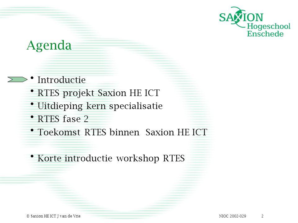 © Saxion HE ICT J van de Vrie2 Agenda Introductie RTES projekt Saxion HE ICT Uitdieping kern specialisatie RTES fase 2 Toekomst RTES binnen Saxion HE ICT Korte introductie workshop RTES