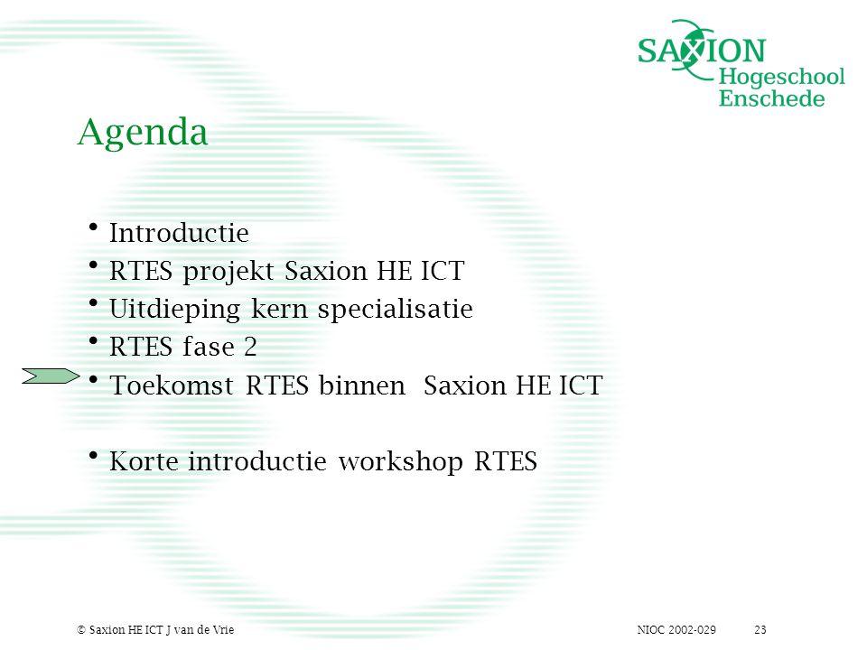 NIOC 2002-029© Saxion HE ICT J van de Vrie23 Agenda Introductie RTES projekt Saxion HE ICT Uitdieping kern specialisatie RTES fase 2 Toekomst RTES binnen Saxion HE ICT Korte introductie workshop RTES