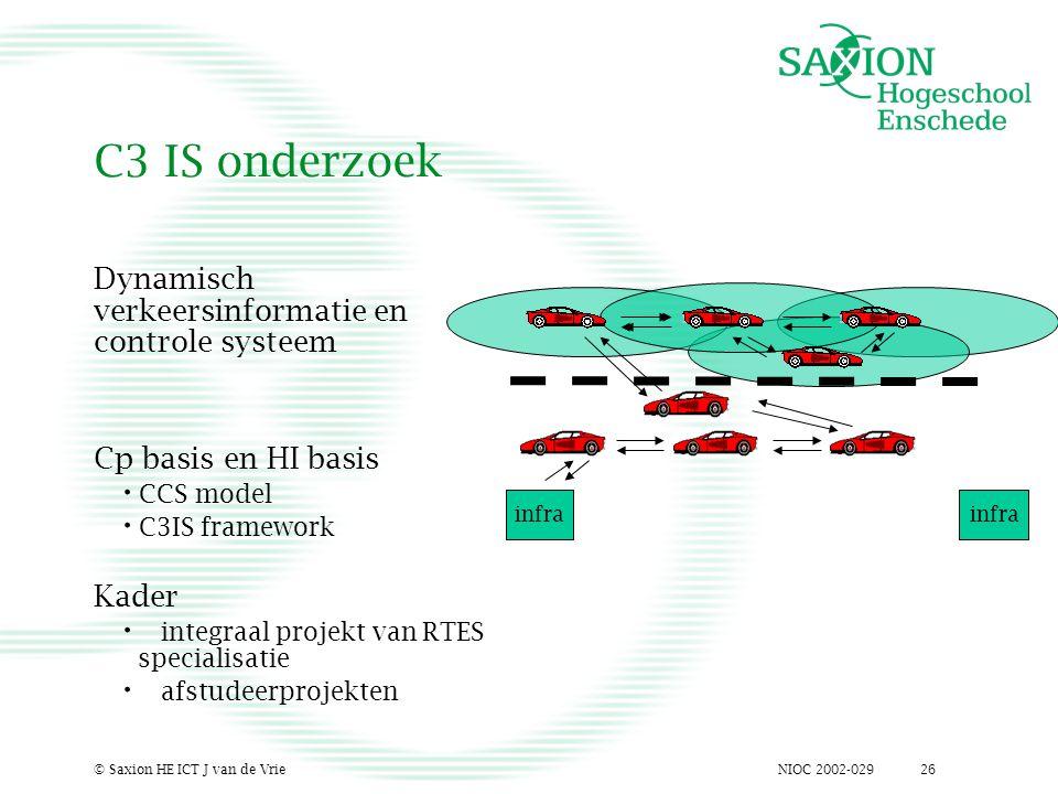 NIOC 2002-029© Saxion HE ICT J van de Vrie26 C3 IS onderzoek Dynamisch verkeersinformatie en controle systeem Cp basis en HI basis CCS model C3IS fram