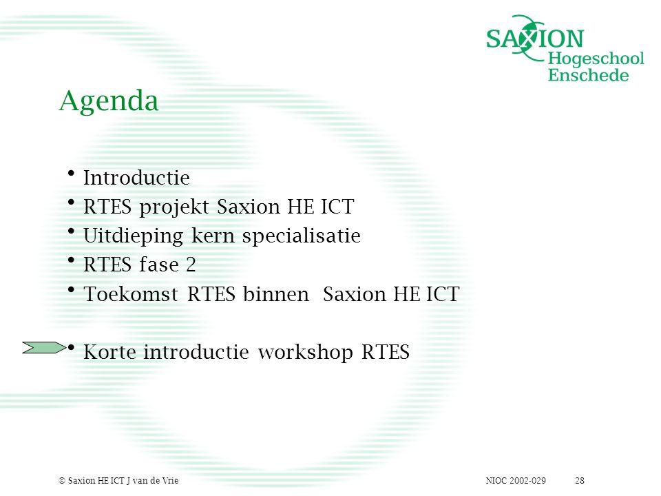 NIOC 2002-029© Saxion HE ICT J van de Vrie28 Agenda Introductie RTES projekt Saxion HE ICT Uitdieping kern specialisatie RTES fase 2 Toekomst RTES binnen Saxion HE ICT Korte introductie workshop RTES