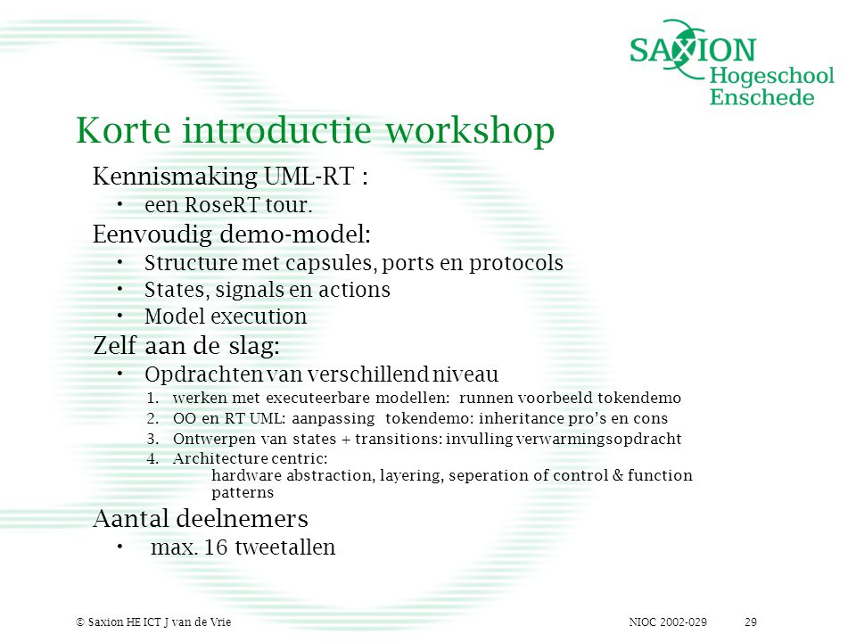 NIOC 2002-029© Saxion HE ICT J van de Vrie29 Korte introductie workshop Kennismaking UML-RT : een RoseRT tour.