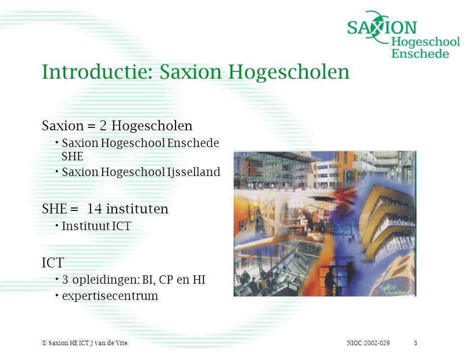 NIOC 2002-029© Saxion HE ICT J van de Vrie3 Introductie: Saxion Hogescholen Saxion = 2 Hogescholen Saxion Hogeschool Enschede SHE Saxion Hogeschool Ij