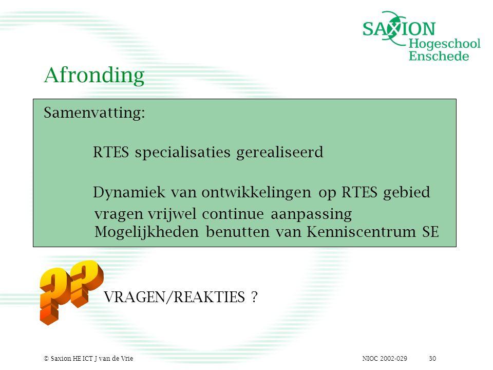 NIOC 2002-029© Saxion HE ICT J van de Vrie30 Afronding Samenvatting: RTES specialisaties gerealiseerd Dynamiek van ontwikkelingen op RTES gebied vrage