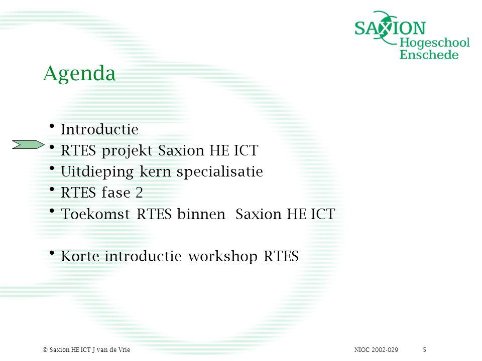 NIOC 2002-029© Saxion HE ICT J van de Vrie5 Agenda Introductie RTES projekt Saxion HE ICT Uitdieping kern specialisatie RTES fase 2 Toekomst RTES binnen Saxion HE ICT Korte introductie workshop RTES