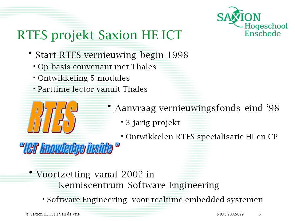 NIOC 2002-029© Saxion HE ICT J van de Vrie6 RTES projekt Saxion HE ICT Start RTES vernieuwing begin 1998 Op basis convenant met Thales Ontwikkeling 5